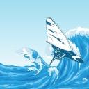 De wind als symbool van de Geest van God. De wind kan je omhoog tillen tot over de golven heen.